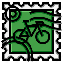 bicycle, grunge, square, stamp icon
