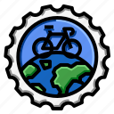 bicycle, stamp, travel, world icon