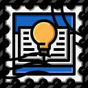 book, grunge, idea, stamp icon