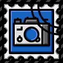 camera, grunge, square, stamp icon