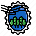 forest, grunge, oval, stamp icon