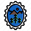 forest, grungenature, oval, stamp icon