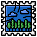 forest, grunge, square, stamp icon
