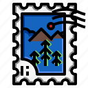 forest, grunge, mountain, stamp, travel icon
