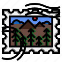 forest, nature, rectangle, stamp icon