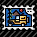 camper, car, forest, stamp, travel