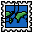 grunge, map, rectangle, stamp, world icon