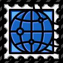 globe, grunge, rectangle, stamp, world icon