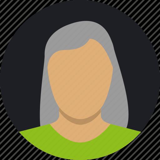 female, grey, mature, woman icon