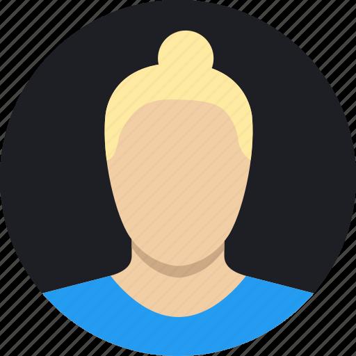 blonde, bun, female, mature, woman icon