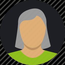 female, grey, mature, shorthair, woman icon