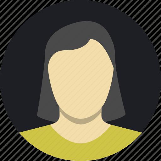 dark, female, mature, shorthair, woman icon