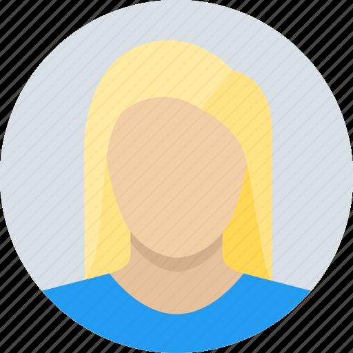 blonde, child, female, girl, long hair, woman icon
