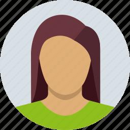 brown, child, female, girl, long hair, woman icon