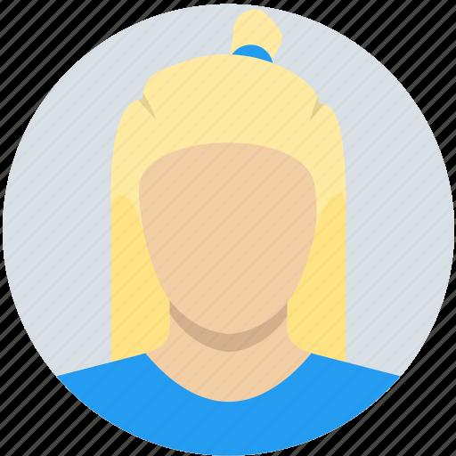 blonde, bun, child, female, girl, kid, woman icon