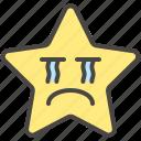 crying, disappointed, emoji, emotion, sad, star icon