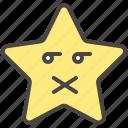 emoji, emotion, muted, secret, shut, star, up icon