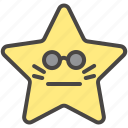bored, emoji, emotion, face, neutral, star, sunglasses icon