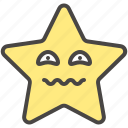 anguish, emoji, emotion, joke, pity, star icon