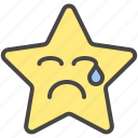 cry, emoji, emotion, face, sad, star icon
