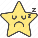 emoji, emotion, face, sleeping, sleepy, star icon