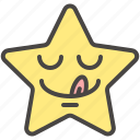 dilicious, emoji, emotion, star, tongue, yummy icon