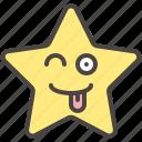 emoji, emotion, playful, star, tongue, winking