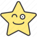 emoji, emotion, face, smile, star, winking icon