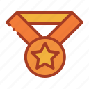 achievement, medal, reward, star icon