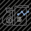 bag, business, cash, graph, money, report icon