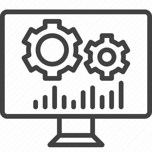 cogwheels, gear, screen, seo icon