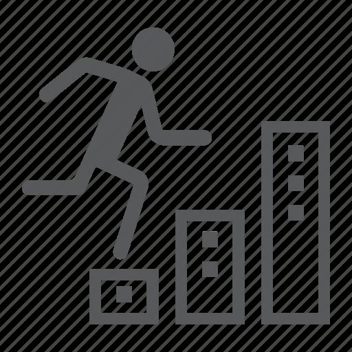 business, career, climbs, development, graph, man, up icon