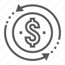 back, business, development, investment, money, pay, return icon
