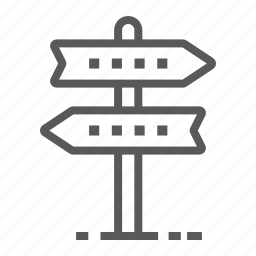 arrow, business, direction, navigation, road, signpost, way icon