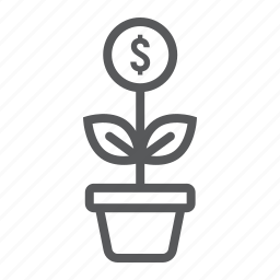 business, development, growth, investment, money, plant, successful icon