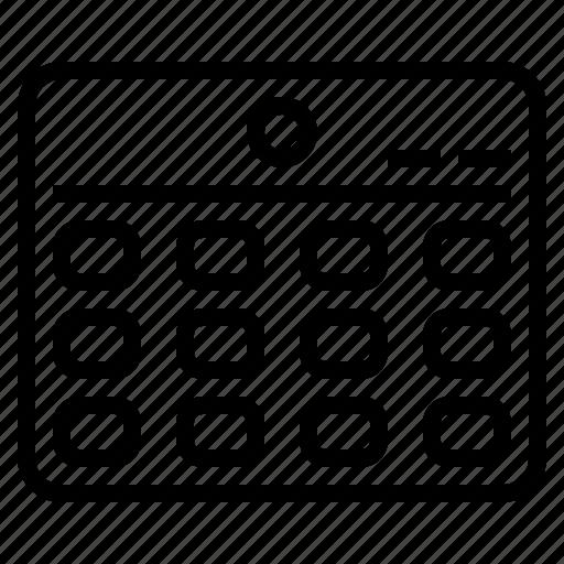 Date, organization, calendar, schedule icon
