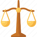 judge, justice, lawyer, scales icon