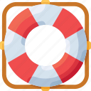 lifebuoy, lock, safety, sea, security icon
