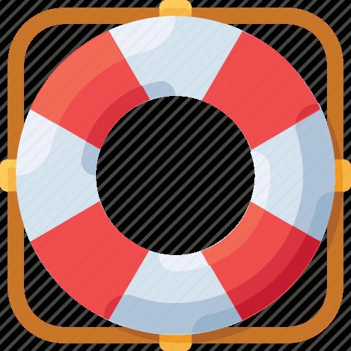 lifebuoy, lock, safety, sea, security icon