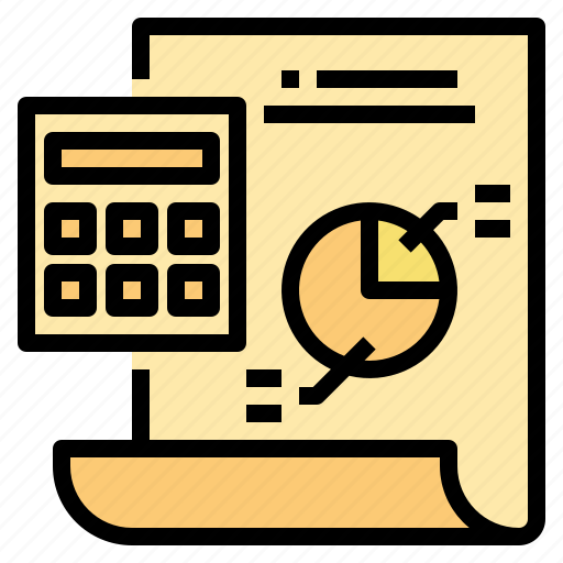 and, business, calculator, currency, investment, report, startup icon