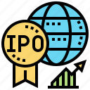 initial, offering, public, stock, trade icon