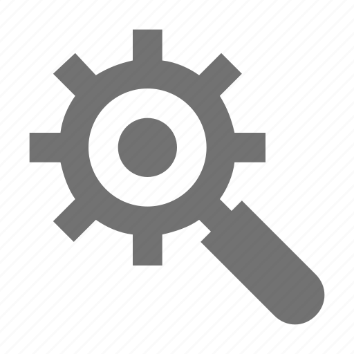 cog, gear, magnifier, search options, search setting icon