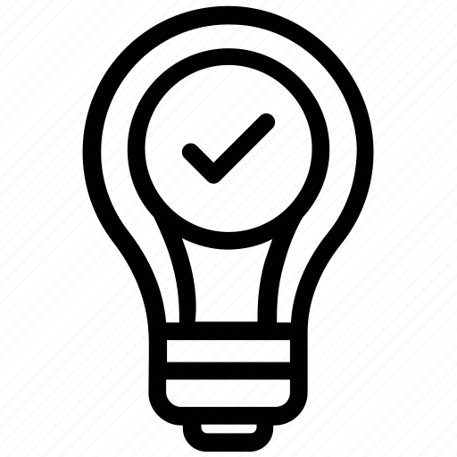 best idea picking, light bulb with check mark, select idea, solution, success concept icon