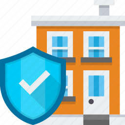 building, company, office, protection, secure, security, shield icon