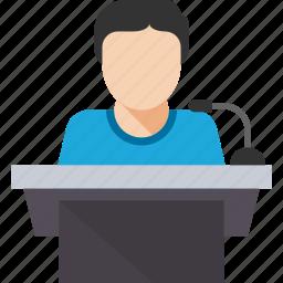 business, conference, meeting, podium, presentation, speak, speech icon