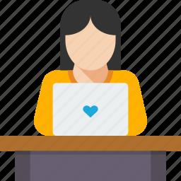 coding, developer, laptop, programming, website, woman, work icon
