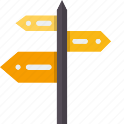 destination, direction, pole, purpose, road, sign, signage icon