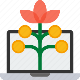 grow, growth, investment, plant, return of investment, roi, stock icon