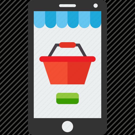 basket, market, mobile, online, shop, smartphone, store icon