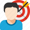 audience, business, dart, market, person, target, user icon